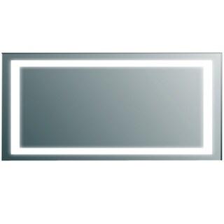 Eviva Silvertone Aluminum/Glass Wall-mounted Modern Bathroom Vanity Backlit LED Mirror