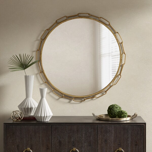 "Madison Park Signature Chainlink Gold Finish Metal Frame Round Decor Mirror - 38.5""w x 1.18""d x 38.5""h"