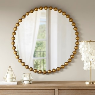 Madison Park Signature Marlowe Gold Metal Frame Round Decor Mirror