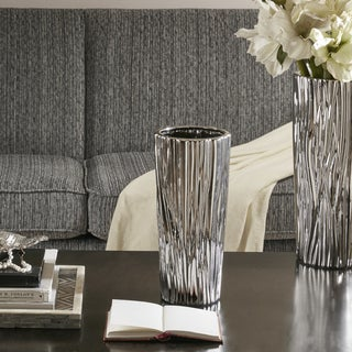 Madison Park Signature Braxton Silver Vase - Small