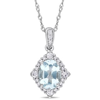 Miadora 10k White Gold Oval-Cut Sky-Blue Topaz White Sapphire and 1/10ct TDW Diamond Halo Necklace