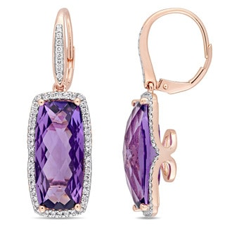 Miadora Signature Collection 14k Rose Gold Checkerboard Amethyst 1/2ct TDW Diamond Leverback Earrings