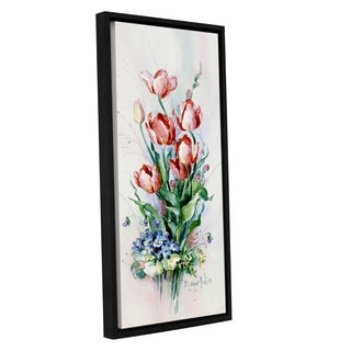 Barbara Mock 'Spring Tulips' Gallery-wrapped Floater-framed Canvas