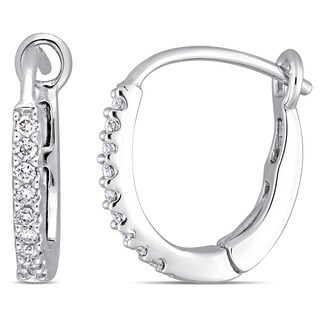 Miadora Signature Collection 10k White Gold 1/7ct TDW Diamond Hoop Earrings