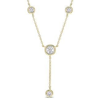 Miadora Yellow Plated Sterling Silver 1/10ct TDW Diamond Station Y-Neck Drop Necklace