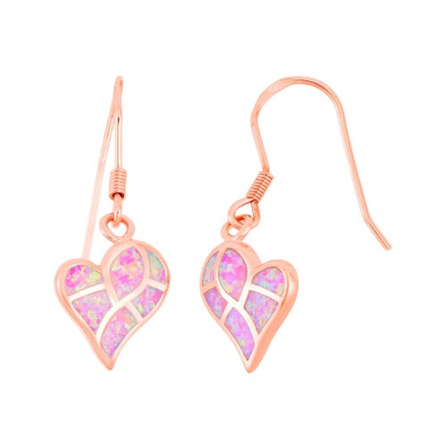 La Preciosa Sterling Sliver Rose Gold Pink Opal Stone Heart Shaped Mosaic Style Earrings