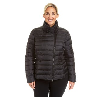 Champion Women's Plus  Asymmetrical Zip Short Quilted Puffer Jacket