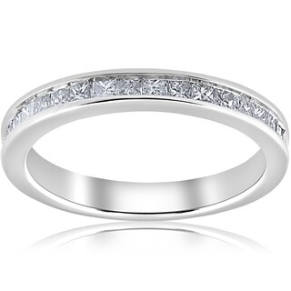 Bliss 10k White Gold 1/2 ct TDW Princess Cut Diamond Wedding Ring - White I-J