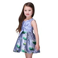Casual Fluffy Floral Toddlers Preschoolers Girls Purple Dress