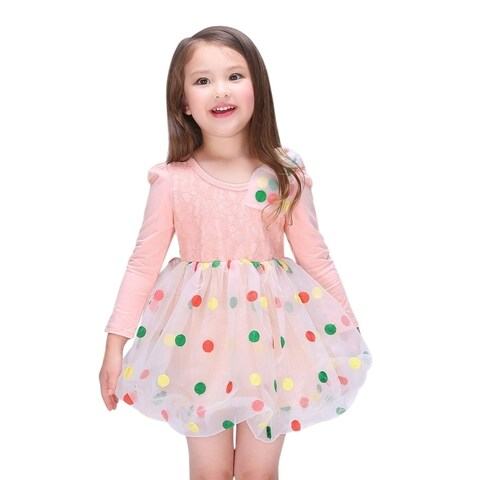 Toddlers Preschoolers Girl's Colorful Polka Dots Lace Dress in Orange