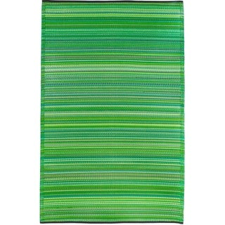 Fab Habitat Cancun Green Recycled Plastic Indoor/Outdoor Rug (8' x 10')