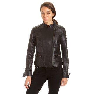 Excelled Ladies Lambskin Moto with Self Lacing Detail
