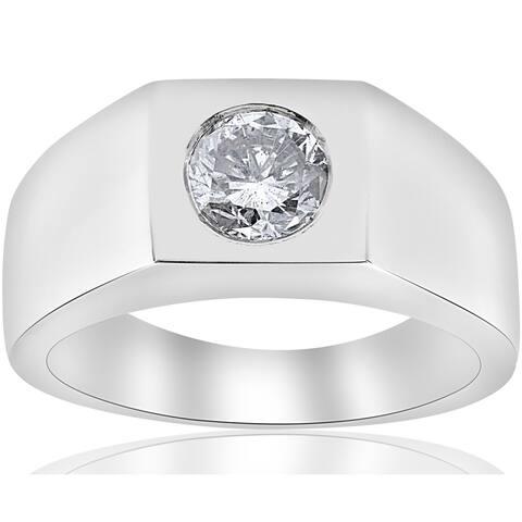 Pompeii3 14k White Gold 1 ct TDW Solitaire Diamond Clarity Enhanced Mens Wedding Ring