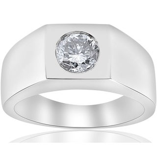 Bliss 14k White Gold 1 ct TDW Solitaire Diamond Clarity Enhanced Mens Wedding Ring