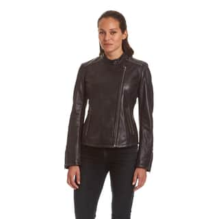 Excelled Ladies Lambskin Moto with Stud Embelishment|https://ak1.ostkcdn.com/images/products/18016305/P24185459.jpg?impolicy=medium