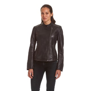 Excelled Ladies Lambskin Moto with Stud Embelishment (3 options available)