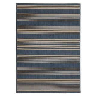 Fab Habitat Essentials Indoor/Outdoor Weather Resistant Floor Mat/Rug Newport - Stripe (5ft 2in x 7ft 5in) - Illusion