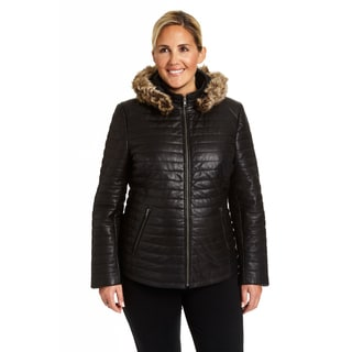 Excelled Ladies Lambskin Channel Quilted Puffer