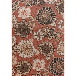 Fab Habitat Essentials Indoor/Outdoor Weather Resistant Floor Mat/Rug Rosedale - Floral (5ft 2in x 7ft 5in) - Terrace