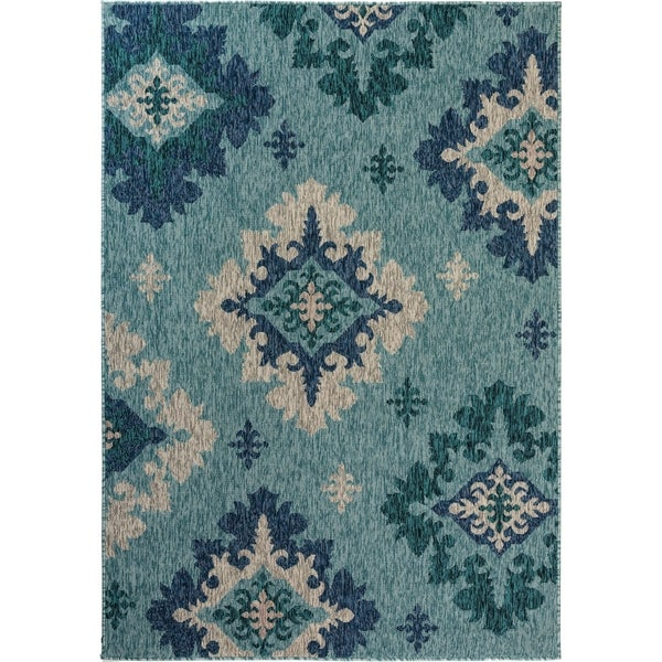 Fab Habitat Essentials Indoor/Outdoor Weather Resistant Floor Mat/Rug Palermo - Damask (5ft 2in x 7ft 5in) - Terrace