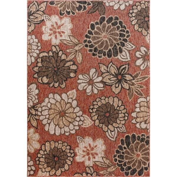 Fab Habitat Essentials Indoor/Outdoor Weather Resistant Floor Mat/Rug Rosedale - Floral (7ft 8in x 10ft 8in) - Terrace