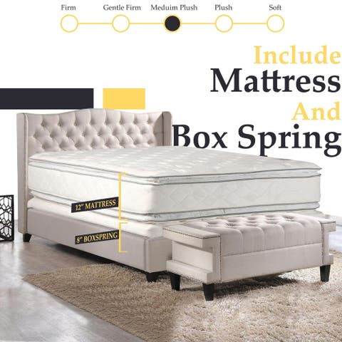 ONETAN, 12-Inch Medium Plush Pillowtop Orthopedic type Doublesided Mattress and 8-Inch Box Spring with Frame