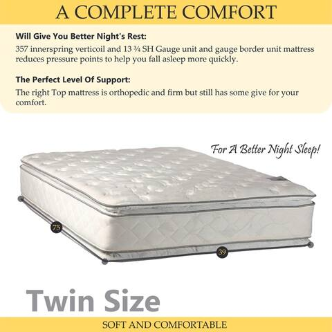 ONETAN, 12-Inch Medium Plush Pillowtop Orthopedic type Doublesided Mattress and 4-inch Split Box Spring