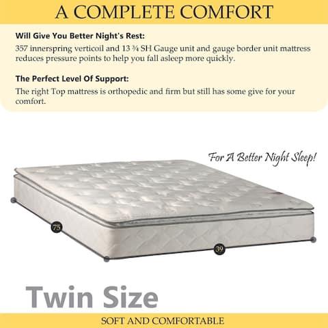 ONETAN, Medium Plush Pillowtop Orthopedic type Mattress and Box Spring with Frame