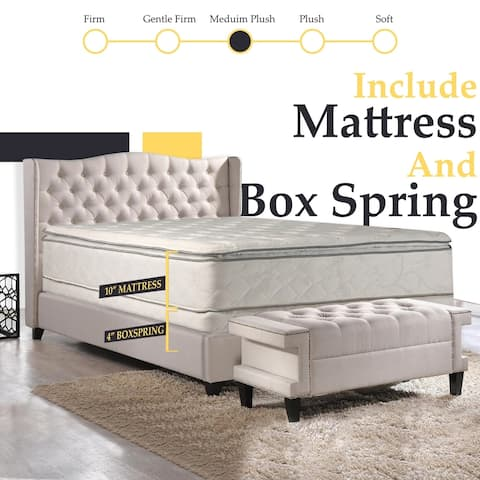 Onetan 10-in. Pillow-top Innerspring Mattress and 4-in. Box Spring