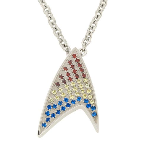 Stainless Steel Multi-Color Crystal Pendant