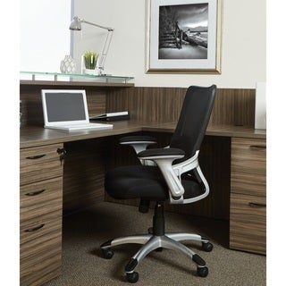 Black Mesh Back Manager's Office Chair with Silver Frame