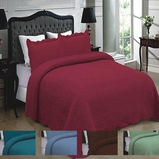 3PC Quilt Set 100% Cotton Solid Color Floral Design Quilt Bedspread Coverlet (4 options available)