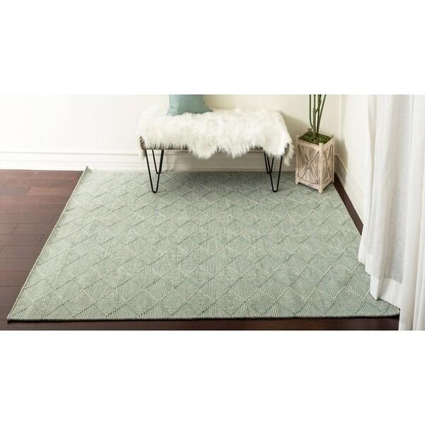 "Handmade Turquoise Ivory Flat Weave Wool Area Rug Carpet (2'6"" x 7'3"") - 2'6"" x 7'3"""