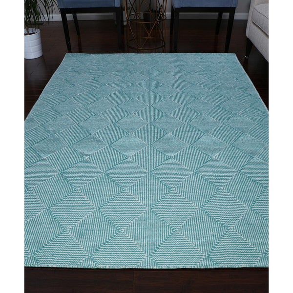 Shop Handmade Flat Weave Turquoise/Ivory/Blue Wool Area
