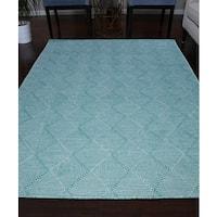 Handmade Flat Weave Turquoise/Ivory/Blue Wool Area Rug Carpet - 8' x 10'