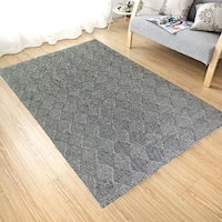 Handmade Flat Weave Charcoal/Black Wool Area Rug Carpet - 8' x 10'