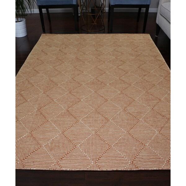 Shop Handmade Flat Weave Rust Ivory Wool Area Rug Carpet