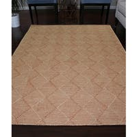 Handmade Flat Weave Rust/Ivory Wool Area Rug Carpet - 8' x 10'