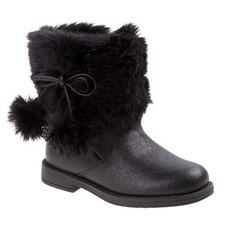 Laura Ashley girl fur boot w/pom pom