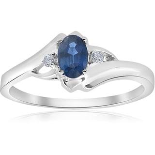 Bliss 14k White Gold 1/2 ct TW Blue Sapphire & Diamond Ring