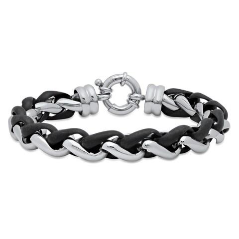 """Men's Stainless Steel and Black Resin Bracelet, 8.5"""""""