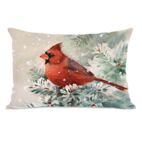 Christmas Cardinal - Multi 14x20 Throw Pillow by One Bella Casa