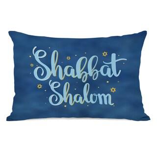 Shabbat Shalom - Blue 14x20 Throw Pillow by OBC