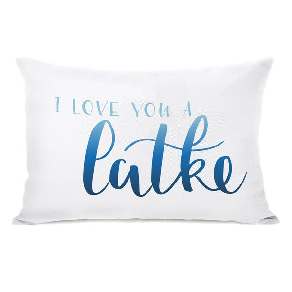 Love You A Latke - White 14x20 Throw Pillow by OBC
