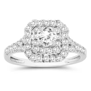 1 Carat TW Diamond Double Row Halo Engagement Ring In 10K White Gold