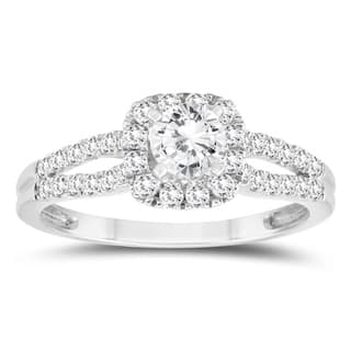 1 Carat TW Diamond Halo Split Shank Engagement Ring In 10K White Gold