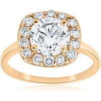 Bliss 14k Yellow Gold 2 ct TDW Diamond Clarity Enhanced Cushion Halo Engagement Ring - White