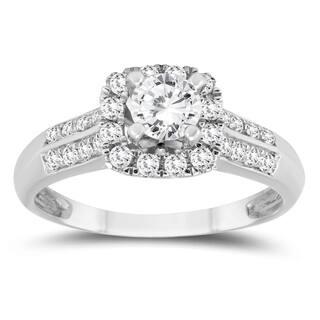 3 4 Carat TW Diamond Halo Engagement Ring In 10K White Gold
