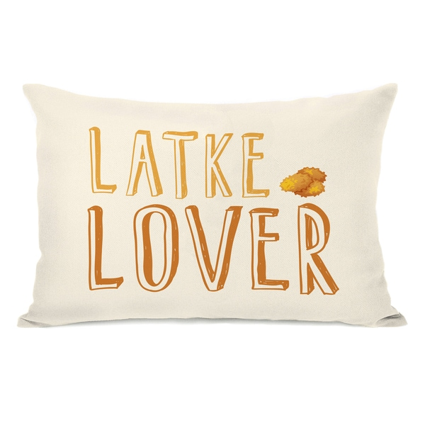 Latke Lover - Yellow 14x20 Throw Pillow by OBC