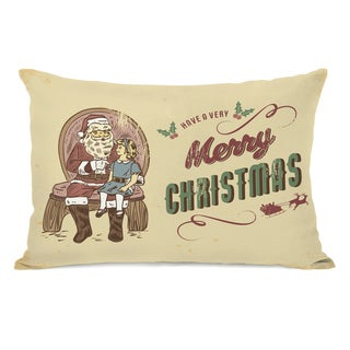 Vintage Christmas Postcard - Yellow 14x20 Throw Pillow by OBC